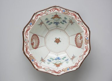 <em>Bowl</em>, ca. 1700. Porcelain with overglaze enamel painting, 3 3/8 x 8 3/8 in. (8.5 x 21.3 cm). Brooklyn Museum, The Peggy N. and Roger G. Gerry Collection, 2004.28.13. Creative Commons-BY (Photo: Brooklyn Museum, 2004.28.13_top_ps11.jpg)
