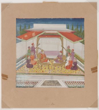 <em>Seated Figures and Attendants Before a Fountain</em>, 19th century. Opaque watercolors on paper, 6 x 6 in. (15.2 x 15.2 cm). Brooklyn Museum, The Peggy N. and Roger G. Gerry Collection, 2004.28.14 (Photo: Brooklyn Museum, 2004.28.14_IMLS_PS4.jpg)