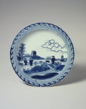 <em>Dish, One from a Set of Three</em>, 1725-1735. Porcelain with underglaze blue, 15/16 x 7 7/8 in. (2.4 x 20 cm). Brooklyn Museum, The Peggy N. and Roger G. Gerry Collection, 2004.28.160. Creative Commons-BY (Photo: , 2004.28.158.jpg)