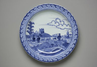 <em>Dish, One from a Set of Three</em>, 1725-1735. Porcelain with underglaze blue, 15/16 x 7 7/8 in. (2.4 x 20 cm). Brooklyn Museum, The Peggy N. and Roger G. Gerry Collection, 2004.28.159. Creative Commons-BY (Photo: Brooklyn Museum, 2004.28.159_front_PS11.jpg)