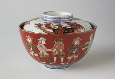 <em>Rice Bowl and Cover</em>, 19th century (possibly). Ko-Imari ware, porcelain with underglaze blue, overglaze enamel and gold, Bowl with lid (a-b): 3 3/8 × 4 3/4 in. (8.6 × 12.1 cm). Brooklyn Museum, The Peggy N. and Roger G. Gerry Collection, 2004.28.170a-b. Creative Commons-BY (Photo: Brooklyn Museum, 2004.28.170a-b_view1_PS11.jpg)