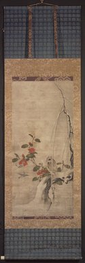 <em>Camellias and Birds in Snow</em>, 17th century. Hanging scroll, ink and color on paper, Image: 43 x 20 in. (109.2 x 50.8 cm). Brooklyn Museum, The Peggy N. and Roger G. Gerry Collection, 2004.28.194 (Photo: Brooklyn Museum, 2004.28.194_overall.jpg)