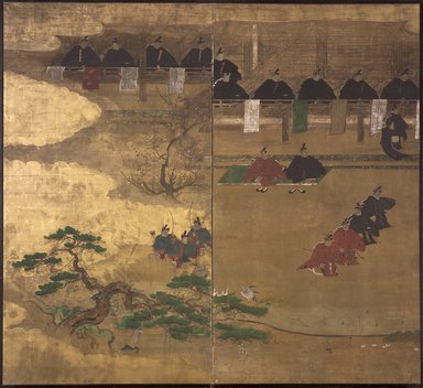 <em>Fragment of Nenju Gyoji Screen</em>, 17th century. Two-fold screen, ink, gold leaf, and color on paper, Overall in cluding mount: 69 11/16 x 73 7/16 in. (177 x 186.6 cm). Brooklyn Museum, The Peggy N. and Roger G. Gerry Collection, 2004.28.225 (Photo: Brooklyn Museum, 2004.28.225.jpg)