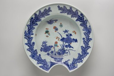 <em>Barber's Bowl</em>, 18th century. Porcelain with underglaze blue and overglaze enamel, 3 5/16 x 12 5/16 in. (8.4 x 31.3 cm). Brooklyn Museum, The Peggy N. and Roger G. Gerry Collection, 2004.28.227. Creative Commons-BY (Photo: Brooklyn Museum, 2004.28.227_top_PS11.jpg)