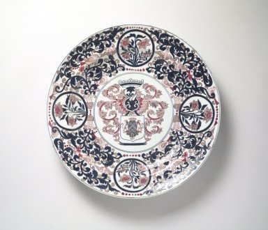 <em>Armorial Plate</em>, late 17th-early 18th century. Arita ware: porcelain with underglaze blue and overglaze enamel decoration, height: 3 3/16 in. (8.1 cm); diameter: 21 3/8 in. (54.3 cm). Brooklyn Museum, The Peggy N. and Roger G. Gerry Collection, 2004.28.248. Creative Commons-BY (Photo: Brooklyn Museum, 2004.28.248.jpg)