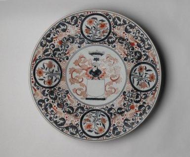 <em>Armorial Plate</em>, late 17th-early 18th century. Arita ware. Porcelain with underglaze blue and overglaze enamel decoration, height: 3 9/16 in. (9 cm); diameter: 21 3/4 in. (55.2 cm). Brooklyn Museum, The Peggy N. and Roger G. Gerry Collection, 2004.28.249. Creative Commons-BY (Photo: Brooklyn Museum, 2004.28.249_PS2.jpg)