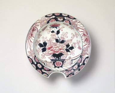 <em>Barber's Bowl</em>, ca. 1720-40. Arita ware, porcelain with underglaze blue and overglaze color and gold enamel, 3 x 10 1/2 in. (7.6 x 26.7 cm). Brooklyn Museum, The Peggy N. and Roger G. Gerry Collection, 2004.28.265. Creative Commons-BY (Photo: Brooklyn Museum, 2004.28.265.jpg)
