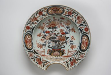 <em>Barber's Bowl</em>, 1690-1720. Arita ware, porcelain with underglaze blue and overglaze color and gold enamel, 2 3/16 x 10 7/8 in. (5.5 x 27.6 cm). Brooklyn Museum, The Peggy N. and Roger G. Gerry Collection, 2004.28.268. Creative Commons-BY (Photo: Brooklyn Museum, 2004.28.268_top_PS11.jpg)