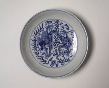<em>Dish</em>, 1736-1798. Porcelain with underglaze blue, 1 1/2 x 6 5/8 in. (3.8 x 16.9 cm). Brooklyn Museum, The Peggy N. and Roger G. Gerry Collection, 2004.28.289. Creative Commons-BY (Photo: Brooklyn Museum, 2004.28.289_top.jpg)