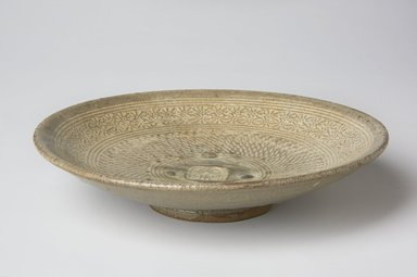 <em>Bowl</em>, first half of 15th century. Buncheong ware, glazed stoneware with white slip, Height: 1 1/2 in. (3.8 cm). Brooklyn Museum, The Peggy N. and Roger G. Gerry Collection, 2004.28.39. Creative Commons-BY (Photo: , 2004.28.39_PS11.jpg)