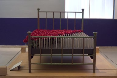 Edwina Sandys (British, born 1938). <em>The Marriage Bed (...Sometimes a Bed of Roses, Sometimes a Bed of Nails)</em>, 2001. Mixed media, 80 x 54 x 54 in. (203.2 x 137.2 x 137.2 cm). Brooklyn Museum, Gift of Henry Luce III and Leila Hadley Luce, 2004.29. © artist or artist's estate (Photo: Brooklyn Museum, 2004.29_installation_view2_PS2.jpg)