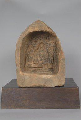 <em>Votive Plaque Depicting Shakyamuni Buddha</em>. Molded terracotta relief, 8 x 6 1/16 x 3 1/8 in. (20.3 x 15.4 x 7.9 cm). Brooklyn Museum, Gift of Jai Chandrasekhar, 2004.3.1. Creative Commons-BY (Photo: Brooklyn Museum, 2004.3.1_PS5.jpg)