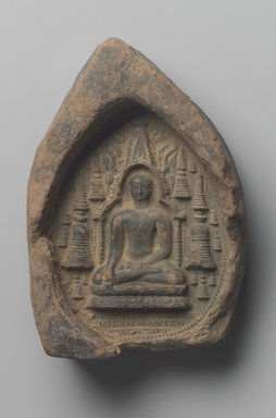 <em>Earth Touching Shakyamuni</em>. Molded terracotta relief, 6 3/4 x 4 5/8 in. (17.1 x 11.7 cm). Brooklyn Museum, Gift of Jai Chandrasekhar, 2004.3.2. Creative Commons-BY (Photo: Brooklyn Museum, 2004.3.2.jpg)