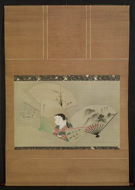 Sakai Hoitsu (Japanese, 1761-1828). <em>Five Fans</em>, 1820. Hanging scroll, ink, gofun, and gold on silk, With mount: 46 1/16 x 67 1/8 in. (117 x 170.5 cm). Brooklyn Museum, Gift of Betsy and Robert S. Feinberg, 2004.4 (Photo: Brooklyn Museum, 2004.4.jpg)