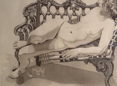 Virginia Piersol, NY. <em>Nude on a Silver Bench</em>, 1972. Etching and aquatint, 21 3/4 x 29 3/16 in. (55.2 x 74.2 cm). Brooklyn Museum, Gift of Edward and Phyllis Kwalwasser, 2004.45.2. © artist or artist's estate (Photo: Brooklyn Museum, 2004.45.2.jpg)
