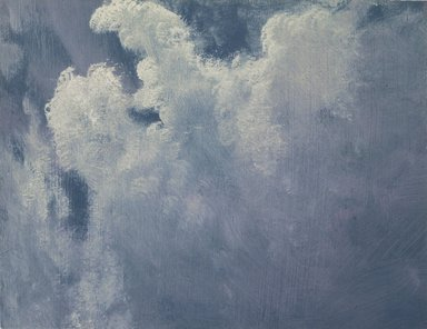 Albert Bierstadt (American, born Germany, 1830-1902). <em>Blue and White Cloud</em>, n.d. Oil on paper, 7 1/2 x 9 1/8 in. (19.1 x 23.2 cm)  (uneven). Brooklyn Museum, Gift of Julie and Lawrence Salander in honor of Dr. and Mrs. Gerald Kaiser, 2004.49 (Photo: Brooklyn Museum, 2004.49.jpg)