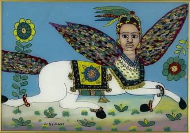 Gora Mbengue (1931-1988). <em>Al-Buraq</em>, 1975. Glass, paint, 13 1/2 x 19 1/4 in. (34.3 x 48.9 cm). Brooklyn Museum, Gift of Blake Robinson, 2004.52.21. Creative Commons-BY (Photo: Brooklyn Museum, 2004.52.21_PS2.jpg)