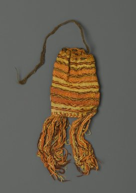 <em>Coca Bag</em>, 1000-1500. Camelid fiber, 7 × 3 × 1/4 in. (17.8 × 7.6 × 0.6 cm). Brooklyn Museum, Gift of Victor P. Nunez, 2004.53.54. Creative Commons-BY (Photo: Brooklyn Museum, 2004.53.54_PS2.jpg)