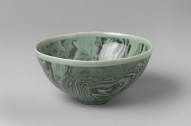 Shin Chul (Korean, born 1963). <em>Bowl</em>, 2003. Earthenware, marbled ware under a celadon glaze (Neriage technique), 3 x 6 in. (7.6 x 15.2 cm). Brooklyn Museum, Gift of the Tong-in Gallery, 2004.6. Creative Commons-BY (Photo: Brooklyn Museum, 2004.6.jpg)