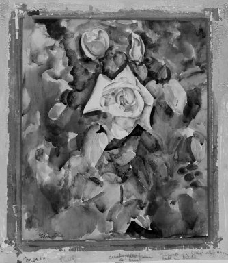 William Zorach (American, born Lithuania, 1887-1966). <em>Roses with Foliate Background</em>, ca. 1920. Watercolor over graphite on paper mounted on board, Sheet: 18 x 16 in. (45.7 x 40.6 cm). Brooklyn Museum, Bequest of George Turitz, 2004.72.4. © artist or artist's estate (Photo: Brooklyn Museum, 2004.72.4_bw.jpg)