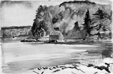 William Zorach (American, born Lithuania, 1887-1966). <em>Wooded Landscape with Water</em>. Watercolor (and ink wash?) over graphite on paper, 13 1/4 x 20 1/4 in. (33.7 x 51.4 cm). Brooklyn Museum, Bequest of George Turitz, 2004.72.8. © artist or artist's estate (Photo: Brooklyn Museum, 2004.72.8_bw.jpg)