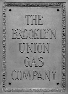 <em>Brooklyn Union Gas Plaque</em>. Bronze, 26 x 19 x 1 1/2 in. (66 x 48.3 x 3.8 cm). Brooklyn Museum, Gift of the Keyspan Corporation, 2004.73. Creative Commons-BY (Photo: Brooklyn Museum, 2004.73_bw.jpg)