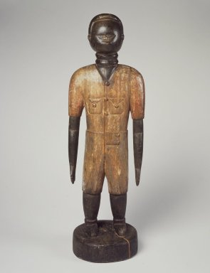 Mende. <em>Standing Male Figure</em>, early 20th century. Wood, pigment, 25 x 8 1/4 x 6 1/2 in. (63.5 x 21 x 16.5 cm). Brooklyn Museum, Gift of Dorothea and Leo Rabkin, 2004.75.1. Creative Commons-BY (Photo: Brooklyn Museum, 2004.75.1.jpg)