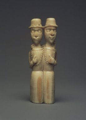 Yombe. <em>Pair of Standing Male Figures</em>, late 19th century. Ivory (probably boar's tooth), 3 x 7/8 x 5/8 in. (7.6 x 2.2 x 1.6 cm). Brooklyn Museum, Gift of Dorothea and Leo Rabkin, 2004.75.3. Creative Commons-BY (Photo: Brooklyn Museum, 2004.75.3.jpg)