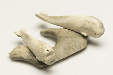 Inuit. <em>Two Whales on a Base</em>, 1950-1980. Bone, antler, pigment, 1 5/8 x 5 1/8 x 3 3/4 in. (4.1 x 13 x 9.5 cm). Brooklyn Museum, Hilda and Al Schein Collection, 2004.79.55. Creative Commons-BY (Photo: Brooklyn Museum, 2004.79.55_view01_PS11-1.jpg)