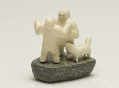 Tungilik. <em>Scene with Two Men and a Dog</em>, 1950-1980. Ivory, stone, 2 1/2 x 1 7/8 x 1 7/8 in. (6.4 x 4.8 x 4.8 cm). Brooklyn Museum, Hilda and Al Schein Collection, 2004.79.80. Creative Commons-BY (Photo: Brooklyn Museum, 2004.79.80_view01_PS11-1.jpg)