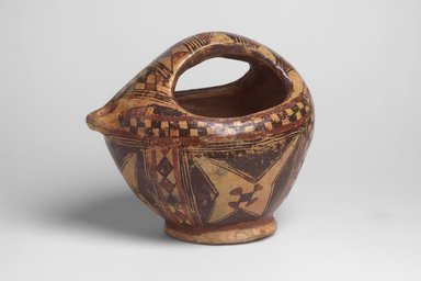 <em>Ewer</em>, ca. 1900. Earthernware with brown and red glazes, Length: H. 8 in. x W. 7 in. x L. 10 in. Brooklyn Museum, Gift of Dr. Charles S. Grippi in honor of the memory of the late Professor Virgil H. Bird, 2004.83.3. Creative Commons-BY (Photo: Brooklyn Museum, 2004.83.3_side.jpg)