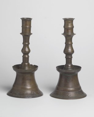 <em>Candlestick</em>, 16th-17th century. Brass, Height: 9 in. (22.9 cm). Brooklyn Museum, Gift of Dr. Charles S. Grippi in honor of the memory of the late Professor Virgil H. Bird, 2004.83.4. Creative Commons-BY (Photo: , 2004.83.4_2004.83.5.jpg)