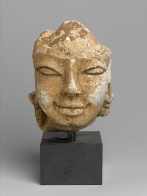 <em>Head of a Bodhisattva</em>, 8th-9th century. Stucco with white wash, 5 3/4 in. (14.6 cm). Brooklyn Museum, Gift of Dr. Bertram H. Schaffner, 2004.86.1. Creative Commons-BY (Photo: Brooklyn Museum, 2004.86.1_front_PS1.jpg)