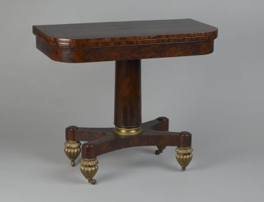 Unknown. <em>Card Table</em>, ca. 1815-1820. Mahogany, other woods, gilt bronze, marbled paper, 30 1/2 x 36 1/8 x 17 7/8 in. (77.5 x 91.8 x 45.4 cm). Brooklyn Museum, Gift of Andrew Berrien Jones, 2004.95.2. Creative Commons-BY (Photo: Brooklyn Museum, 2004.95.2_PS2.jpg)