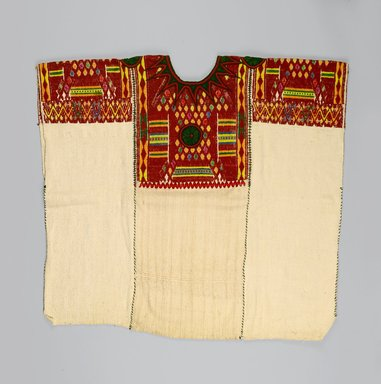 Maya. <em>Woman's Blouse or Huipil</em>, 1930s or 1940s. Cotton, silk, 30 x 31 in. (76.2 x 78.7 cm). Brooklyn Museum, Gift in memory of Elizabeth Ege Freudenheim, 2005.15.1. Creative Commons-BY (Photo: Brooklyn Museum, 2005.15.1_PS1.jpg)