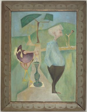 Philip Pearlstein (American, born 1924). <em>Self Portrait/Portrait of George Klauber</em>, 1948-1949. Casein on masonite, 25 x 18 x 1/4 in. (63.5 x 45.7 x 0.6 cm). Brooklyn Museum, Bequest of George Klauber, 2005.20.1. © artist or artist's estate (Photo: Brooklyn Museum, 2005.20.1.jpg)