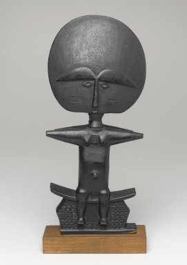 Asante. <em>Pair of Akuaba Figures Seated on a Stool</em>, 20th century. Wood, pigment, 11 3/4 x 5 1/4 x 2 1/4 in. (29.8 x 13.3 x 5.7 cm). Brooklyn Museum, Gift of Marcia and Irwin Hersey, 2005.29.2. Creative Commons-BY (Photo: Brooklyn Museum, 2005.29.2_side2_PS1.jpg)