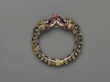 <em>Elephant Bangle</em>, 18th-19th century. Gold with enamel, diamonds, rubies, 3 3/4 x 3 3/4 in. (9.5 x 9.5 cm). Brooklyn Museum, Purchase gift of Samuel S. and Diane P. Stewart, 2005.2. Creative Commons-BY (Photo: Brooklyn Museum, 2005.2_side1_PS2.jpg)