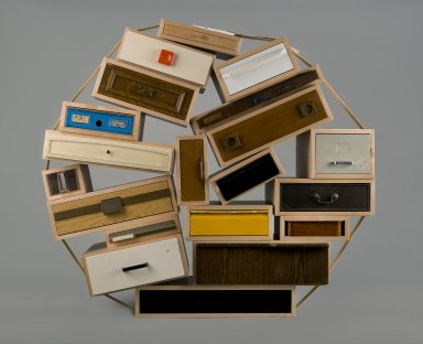 "Tejo Remy (Dutch, born 1960). <em>Chest of Drawers, ""You Can't Lay Down Your Memories,"" edition number 45</em>, designed 1991; made 2005. Maple, other woods, painted and unpainted metals, plastic, paper, textile, 60 x 60 x 30 in. (152.4 x 152.4 x 76.2 cm). Brooklyn Museum, Gift of Joseph F. McCrindle in memory of J. Fuller Feder, by exchange, 2005.36. Creative Commons-BY (Photo: Brooklyn Museum, 2005.36_PS2.jpg)"