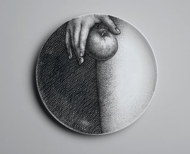 Piero Fornasetti (Italian, 1913-1988). <em>Plate, Eva</em>, ca. 1954. Glazed earthenware, 1 x 10 1/4 x 10 1/4 in. (2.5 x 26 x 26 cm). Brooklyn Museum, Gift of the Estate of Jane Adams Breed, 2005.37.12. Creative Commons-BY (Photo: Brooklyn Museum, 2005.37.12_PS2.jpg)