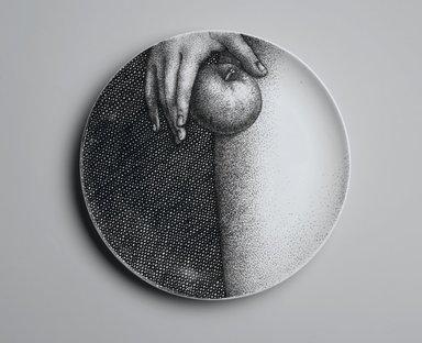 Piero Fornasetti (Italian, 1913-1988). <em>Plate, Eva</em>, ca. 1954. Glazed earthenware, 1 x 10 1/4 x 10 1/4 in. (2.5 x 26 x 26 cm). Brooklyn Museum, Gift of the Estate of Jane Adams Breed, 2005.37.12. Creative Commons-BY (Photo: Brooklyn Museum, 2005.37.12_PS2.jpg)