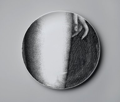 Piero Fornasetti (Italian, 1913-1988). <em>Plate, Eva</em>, ca. 1954. Glazed earthenware, 1 x 10 1/4 x 10 1/4 in. (2.5 x 26 x 26 cm). Brooklyn Museum, Gift of the Estate of Jane Adams Breed, 2005.37.13. Creative Commons-BY (Photo: Brooklyn Museum, 2005.37.13_PS2.jpg)