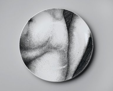 Piero Fornasetti (Italian, 1913-1988). <em>Plate, Eva</em>, ca. 1954. Glazed earthenware, 1 x 10 1/4 x 10 1/4 in. (2.5 x 26 x 26 cm). Brooklyn Museum, Gift of the Estate of Jane Adams Breed, 2005.37.15. Creative Commons-BY (Photo: Brooklyn Museum, 2005.37.15_PS2.jpg)