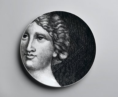 Piero Fornasetti (Italian, 1913-1988). <em>Plate, Eva</em>, ca. 1954. Glazed earthenware, 1 x 10 1/4 x 10 1/4 in. (2.5 x 26 x 26 cm). Brooklyn Museum, Gift of the Estate of Jane Adams Breed, 2005.37.19. Creative Commons-BY (Photo: Brooklyn Museum, 2005.37.19_PS2.jpg)