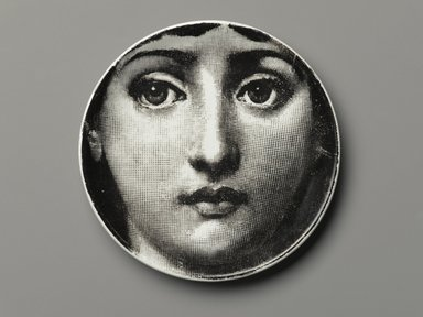 Piero Fornasetti (Italian, 1913-1988). <em>Plate, Theme and Variation</em>, ca. 1954. Glazed earthenware, 1/2 x 4 1/8 x 4 1/8 in. (1.3 x 10.5 x 10.5 cm). Brooklyn Museum, Gift of the Estate of Jane Adams Breed, 2005.37.1. Creative Commons-BY (Photo: Brooklyn Museum, 2005.37.1_PS2.jpg)