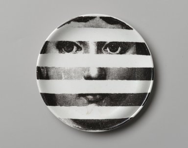 Piero Fornasetti (Italian, 1913-1988). <em>Plate, Theme and Variation</em>, ca. 1954. Glazed earthenware, 1/2 x 4 1/8 x 4 1/8 in. (1.3 x 10.5 x 10.5 cm). Brooklyn Museum, Gift of the Estate of Jane Adams Breed, 2005.37.2. Creative Commons-BY (Photo: Brooklyn Museum, 2005.37.2_PS2.jpg)