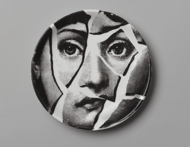 Piero Fornasetti (Italian, 1913-1988). <em>Plate, Theme and Variation</em>, ca. 1954. Glazed earthenware, 1/2 x 4 1/8 x 4 1/8 in. (1.3 x 10.5 x 10.5 cm). Brooklyn Museum, Gift of the Estate of Jane Adams Breed, 2005.37.3. Creative Commons-BY (Photo: Brooklyn Museum, 2005.37.3_PS2.jpg)