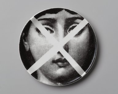 Piero Fornasetti (Italian, 1913-1988). <em>Plate, Theme and Variation</em>, ca. 1954. Glazed earthenware, 1/2 x 4 1/8 x 4 1/8 in. (1.3 x 10.5 x 10.5 cm). Brooklyn Museum, Gift of the Estate of Jane Adams Breed, 2005.37.4. Creative Commons-BY (Photo: Brooklyn Museum, 2005.37.4_PS2.jpg)