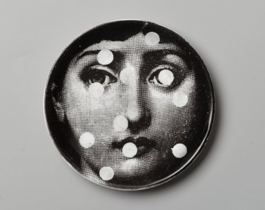 Piero Fornasetti (Italian, 1913-1988). <em>Plate, Theme and Variation</em>, ca. 1954. Glazed earthenware, 1/2 x 4 1/8 x 4 1/8 in. (1.3 x 10.5 x 10.5 cm). Brooklyn Museum, Gift of the Estate of Jane Adams Breed, 2005.37.5. Creative Commons-BY (Photo: Brooklyn Museum, 2005.37.5_PS2.jpg)