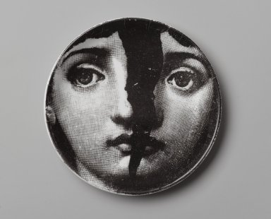 Piero Fornasetti (Italian, 1913-1988). <em>Plate, Theme and Variation</em>, ca. 1954. Glazed earthenware, 1/2 x 4 1/8 x 4 1/8 in. (1.3 x 10.5 x 10.5 cm). Brooklyn Museum, Gift of the Estate of Jane Adams Breed, 2005.37.6. Creative Commons-BY (Photo: Brooklyn Museum, 2005.37.6_PS2.jpg)